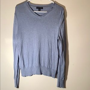 Banana Republic Silk/Cashmere Blue V-neck Sweater